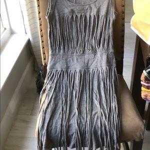 Small BCBG Dress Heather Grey with Fridge details